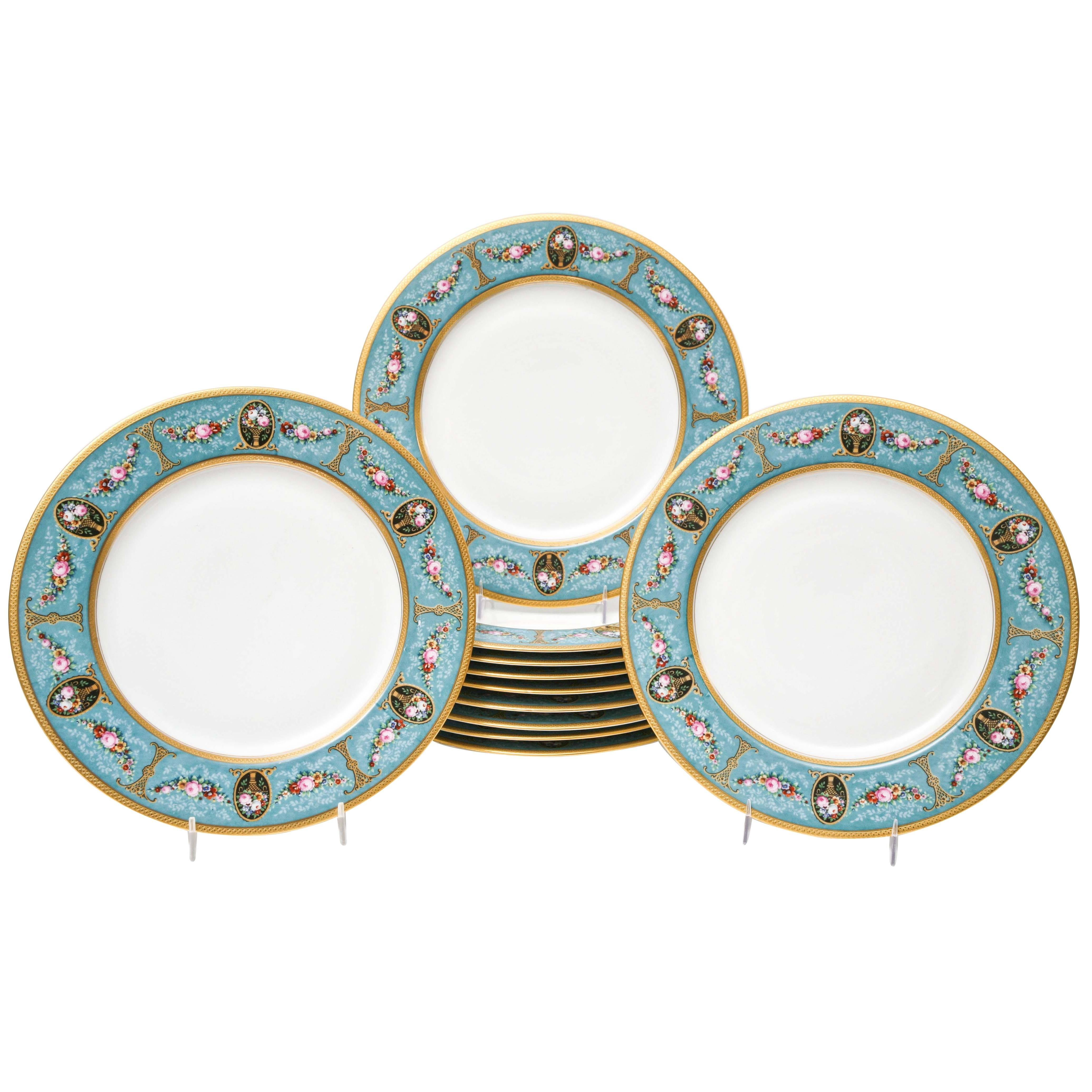 Pretty Turquoise And Rose Pink Dinner Plates Antique Circa 1900 For At 1stdibs