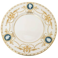 12 Minton for Tiffany Pâte-sur-Pâte Signed Alboin Birks Plates, Raised Gilding