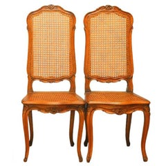 Pair of French Louis XV Style Cane Dining Chairs