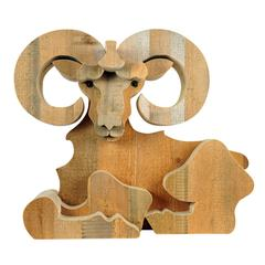 Aries Wood Sculpture by Michelangeli, Italy