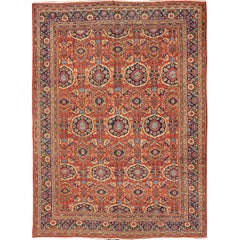 Antique Persian Sultanabad Rug with all over Design and Brilliant Red Color