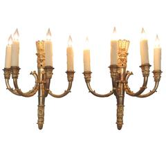 Pair of Mid 19th C French Empire Bronze Sconces