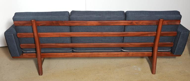 Danish Hans Wegner for GETAMA GE-236 Solid African Teak Three-Seat Sofa, circa 1955 For Sale