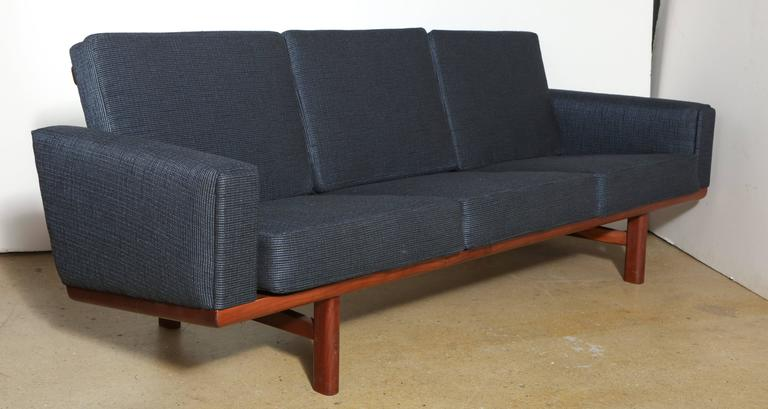 Fabric Hans Wegner for GETAMA GE-236 Solid African Teak Three-Seat Sofa, circa 1955 For Sale