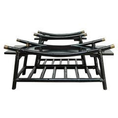 Black Lacquer Rattan Coffee Table and Side Table, Attributed to Ficks Reed