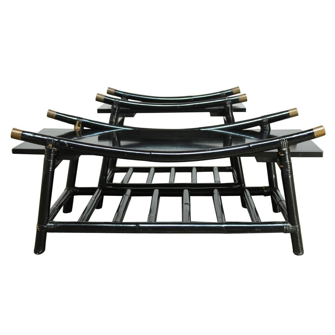 Black Lacquer Rattan Coffee Table And Side Table Attributed To Ficks Reed For Sale At 1stdibs