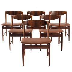 Ib Kofod-Larsen Set of Six Dining Chairs in Rosewood and Leather