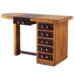 Small Oak Desk with Leather Top