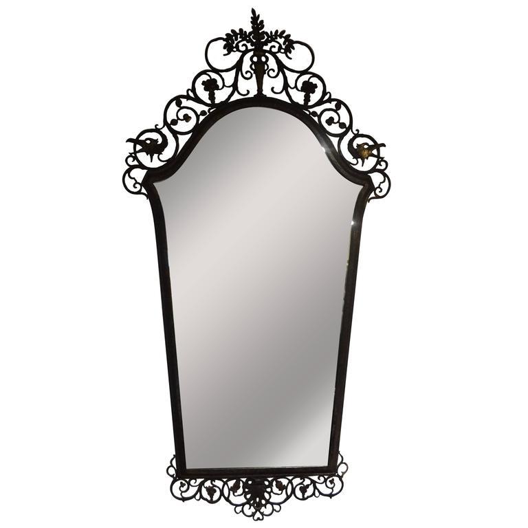 Signed Antique Oscar Bach Bronze Neoclassical Mirror