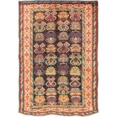 Colorful Antique Caucasian Rug with All-Over Design