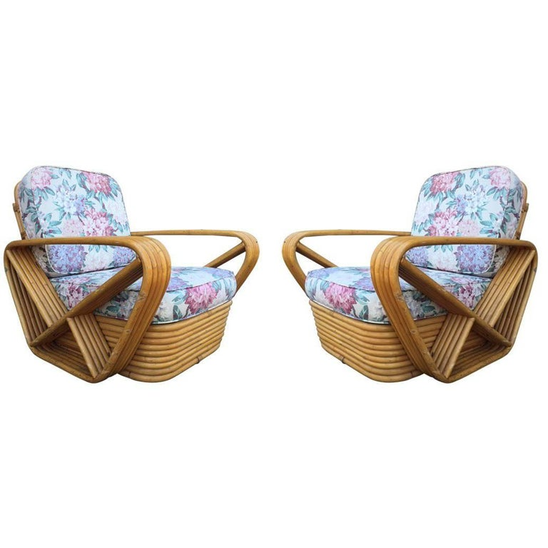 Pair of Square Pretzel Rattan Lounge Chairs Style of Paul Frankl