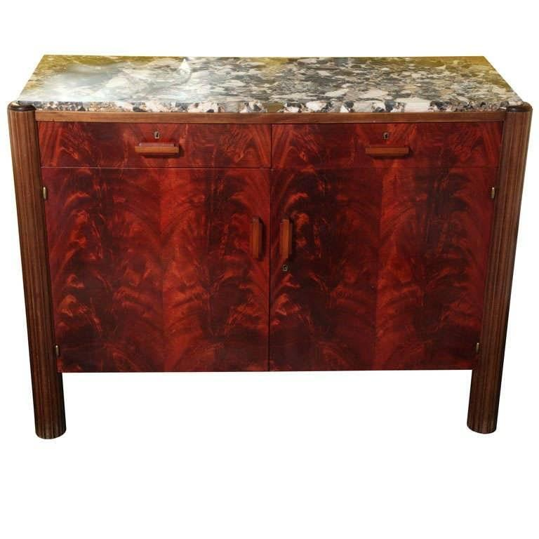 French Art Deco Credenza, Tuscan Marbletop, Macassar Veneer Palm Mahogany Sides For Sale