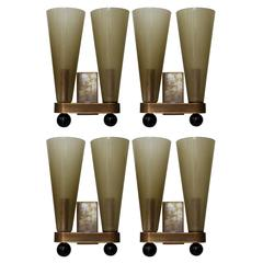 Set of 4 Murano Glass Double Cone Sconces by Fabio Bergomi