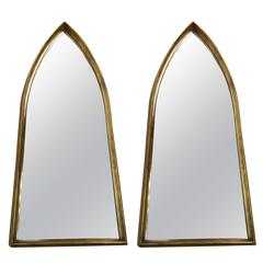 Pair of 1970s Giltwood Arched Mirrors