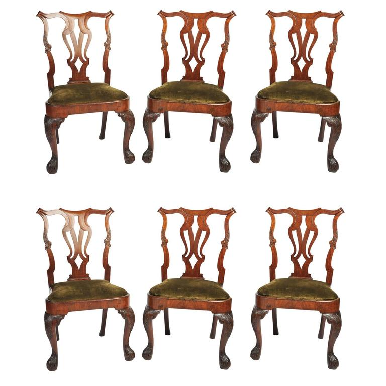 Set of Six George I Red Walnut Chairs