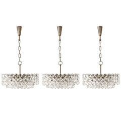 Set of Three Bakalowits Chandeliers Pendant Lights, Nickel Glass, 1960s