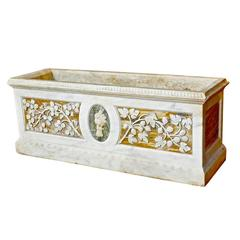 Carved Roman Grand Tour Marble Planter or Trough