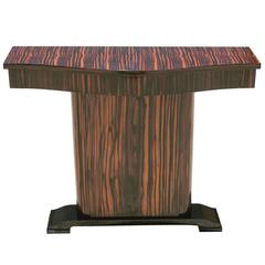 Gorgeous French Art Deco Exotic Macassar Ebony Console Table, circa 1940s