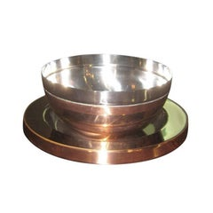Gabriella Crespi Steel and Copper Centre Bowl and Charger
