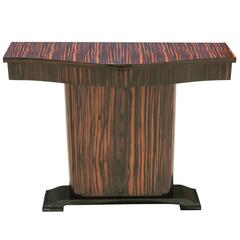 French Art Deco Exotic Macassar Ebony Console Table, circa 1940s
