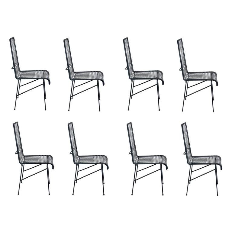Set of Eight Tall Iron and Cord Chairs