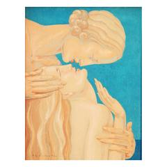 """The Kiss,"" Fabulous Art Deco Painting with Two Female Nudes by Rigal"