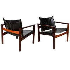 Safari Armchairs Leather and Rosewood Michel Arnoult