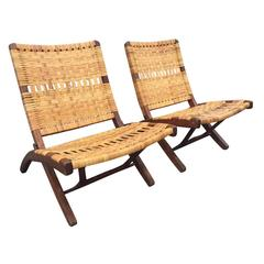 Pair of Danish Woven Caned Lounge Chairs Style of Hans Wegner