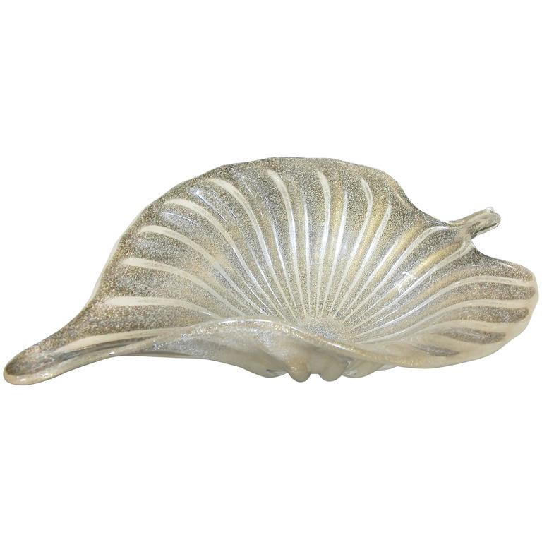 Large Murano Italian Gold Glass Leaf Shaped Centerpiece Bowl For Sale