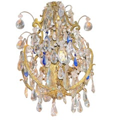Inspired Cobalt and Clear Crystal Gilt Chandelier with Famed Provenance