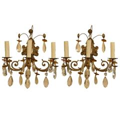 Pair of Louis XV Style French Bronze and Crystal Three-Light Sconces