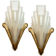 French Art Deco Wall Sconces signed by Sabino