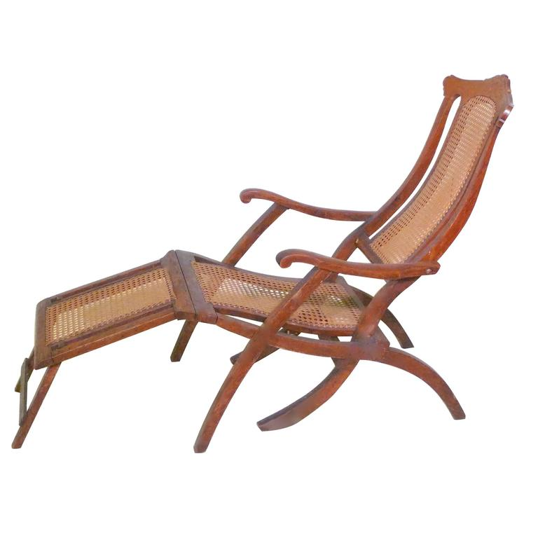 Antique Folding Luxury Wood Steamer Deck Chair, circa 1890, England For Sale - Antique Folding Luxury Wood Steamer Deck Chair, Circa 1890, England