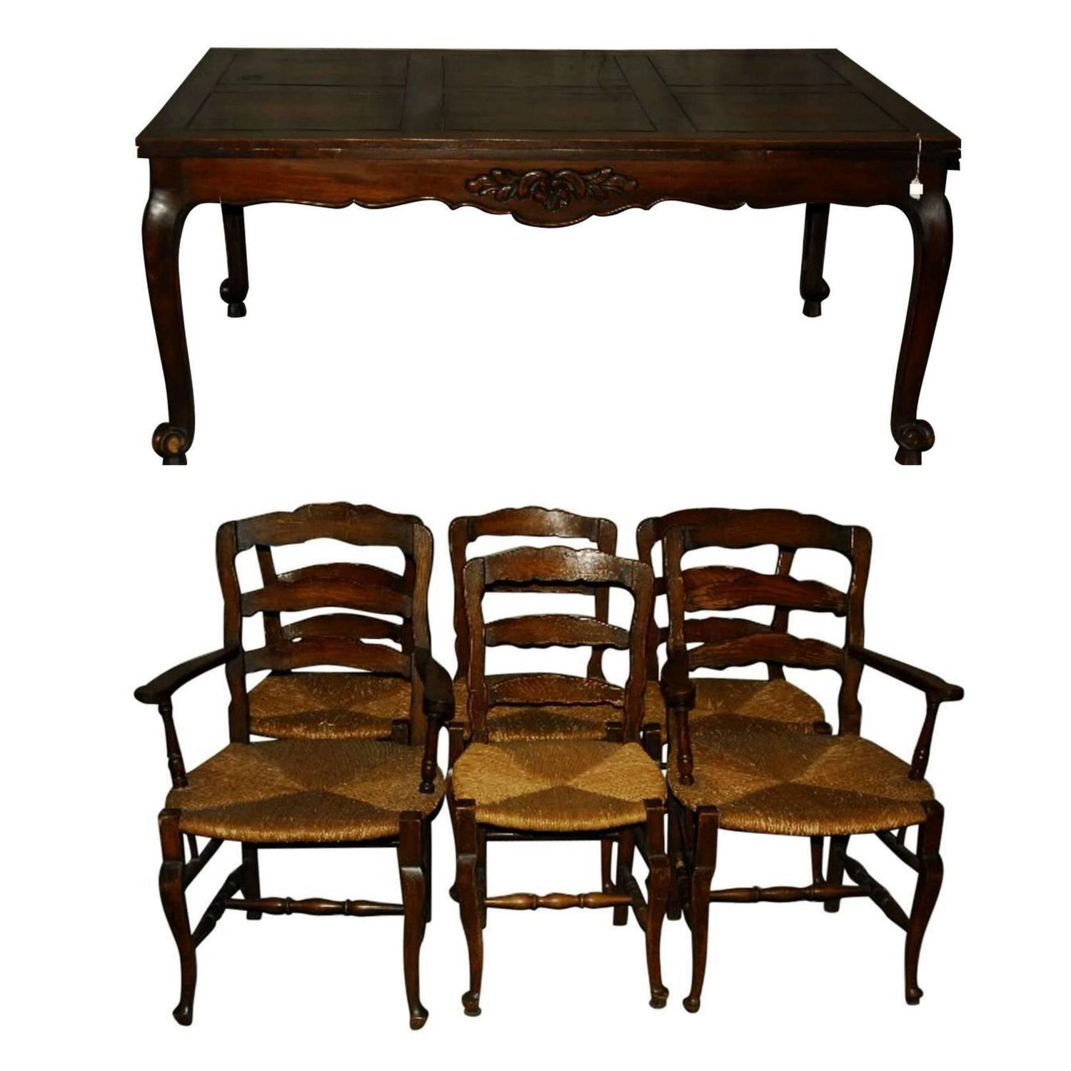 French Country Dining Table And Chairs: 19th Century French Country Carved Oak Dining Table And