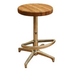 Butcher Block and Aluminum Counter Height Stool