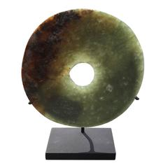 "China Ancient Heavenly green Jade Disc ""Bi"" Wealth Status Objects 4000 Years"