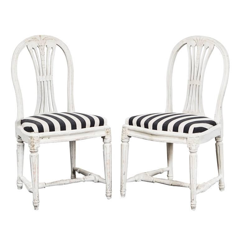 Chairs Side Pair Swedish Gustavian White Chairs