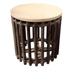 "Vintage Industrial Side Table , 18""H"