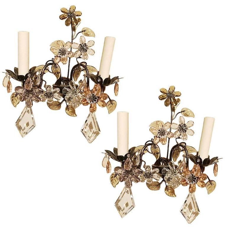 Pair of Crystal Flower Sconces