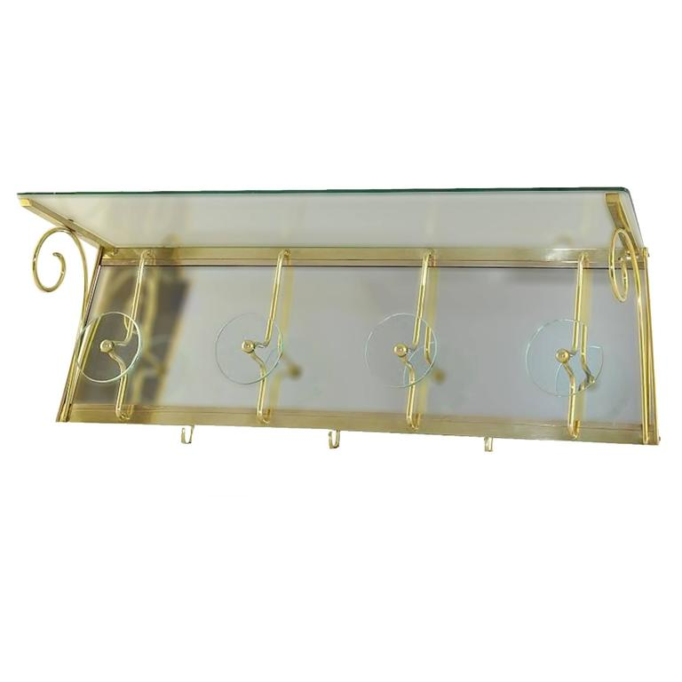 High Quality Glass Coat Rack in the Style of Fontana Arte For Sale
