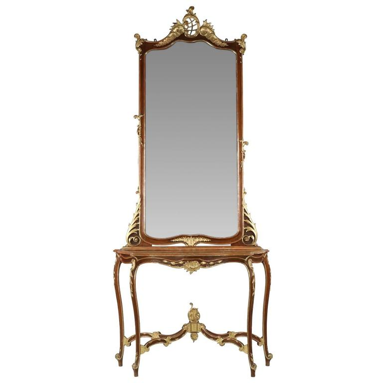 Fine Rococo Carved and Gilded Walnut Pier Mirror and Console Table, 19th Century