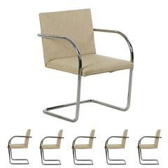 Six Ludwig Mies van der Rohe for Knoll BRNO Chrome Dining Chairs, circe 1979