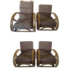 Set of Four Vintage Rattan Pretzel Chairs