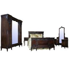 19th Century French Walnut Neoclassical Bedroom Set
