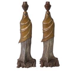 Bronze Native American Andirons by Dan Martin