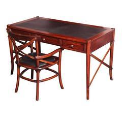 Mahogany Desk, Handmade, Safari Style, Chair Will Fit under Desk
