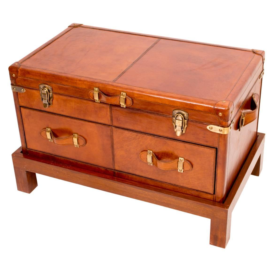 English Leather Campaign Trunk Coffee Table Luggage At 1stdibs