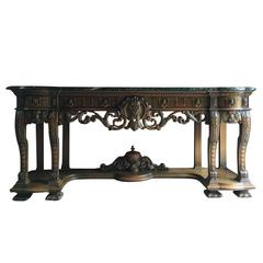 Antique Sideboard Credenza Console Table Heavily Carved Marble Large