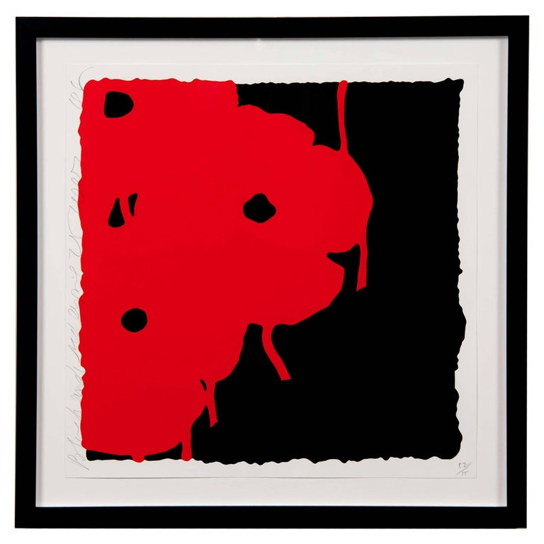 """""""Red and Black"""" Screen Print by Donald Sultan  For Sale"""
