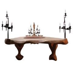 Exceptional Reception Table, Oak and Wrought Iron, 20th Century